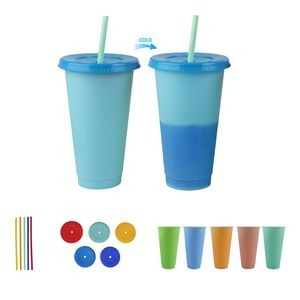 24oz Reusable Color Changing Cup w/ Lid and Straw